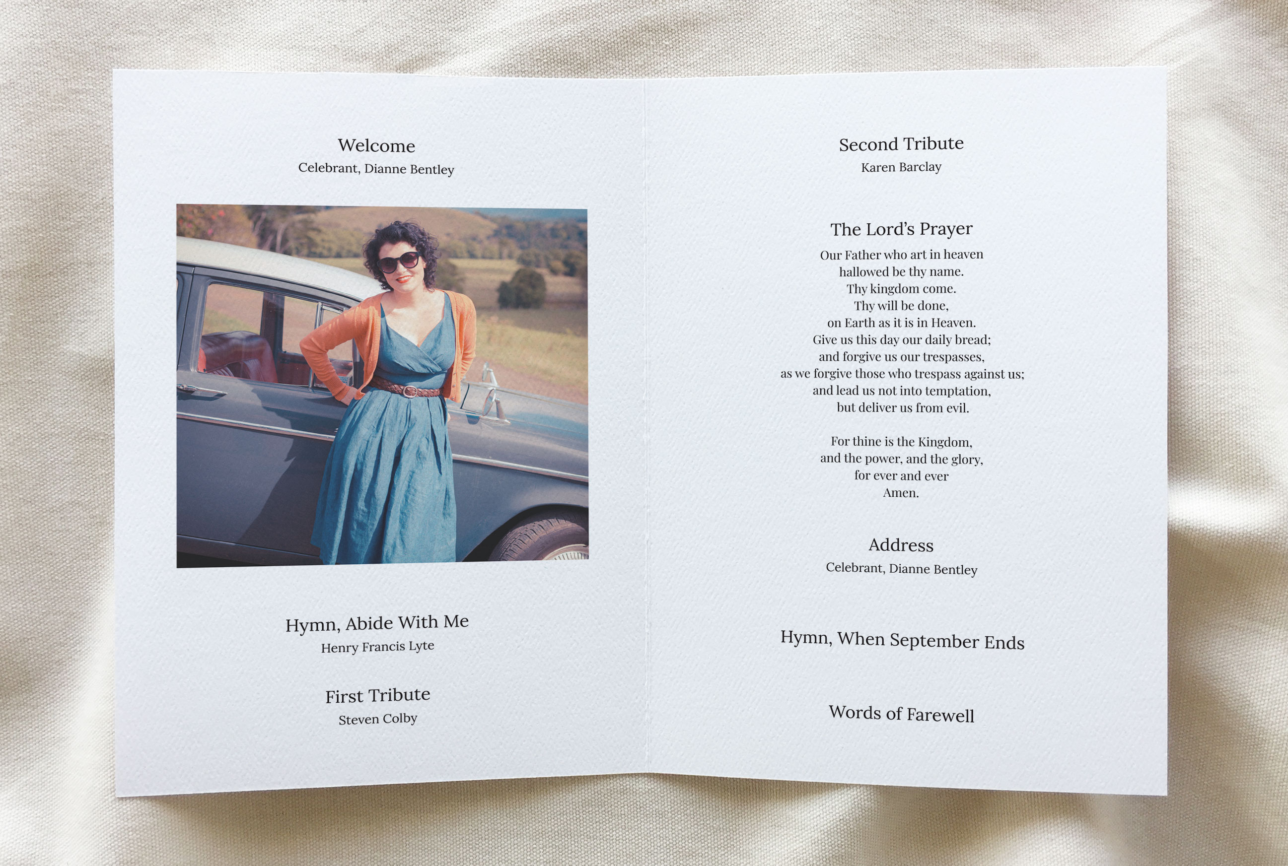 funeral booklet template - Aura theme inside pages