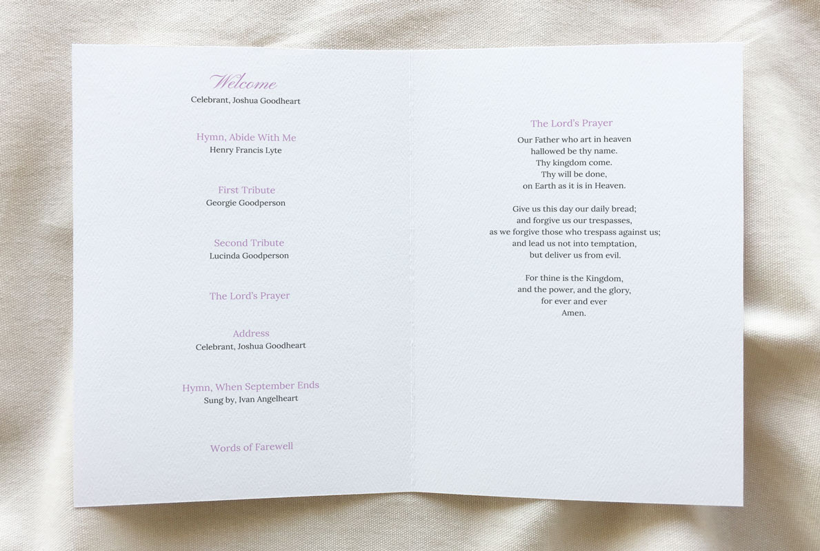 funeral booklet template - Grace theme inside pages