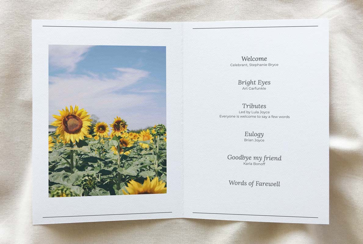 funeral booklet template - customised reflection theme