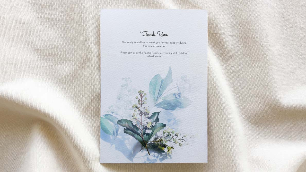 funeral booklet template - Aura theme back cover